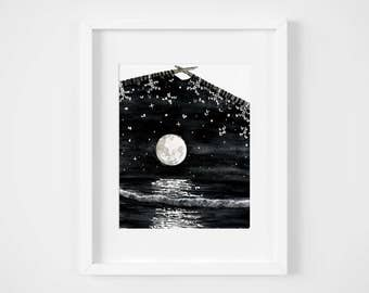 knitted moonlit sea watercolor illustration art print | gifts for knitters, mermaid, craft, yarn, magic, ocean, decoration, moonchild