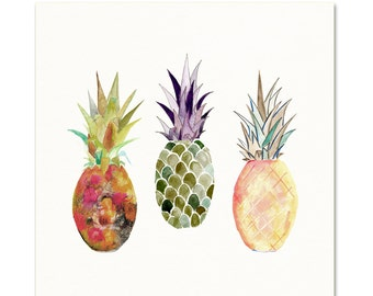 Watercolor Pineapple Art Print. Kids Room Decor. Kitchen Art. Gallery Wall Art Print. Pineapple Decor. Tropical Fruit. Pineapple Painting.