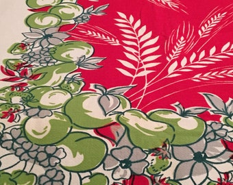 Vintage Fruit and Floral Tablecloth