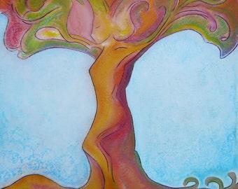 "Womanhood art divine feminine art sketch Friday painting ""Tree's soul"" original on paper by Gioia Albano"