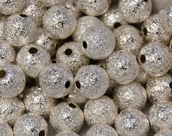 50 beads, Silver Stardust 8mm Spacer beads