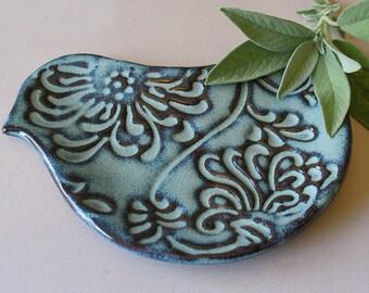 Pottery Bird Plate - Bird Shaped Spoon Rest - Ceramic - Blue Bird - Soap Dish - Trinket Dish - IN STOCK - Gift for Mom - handmade pottery