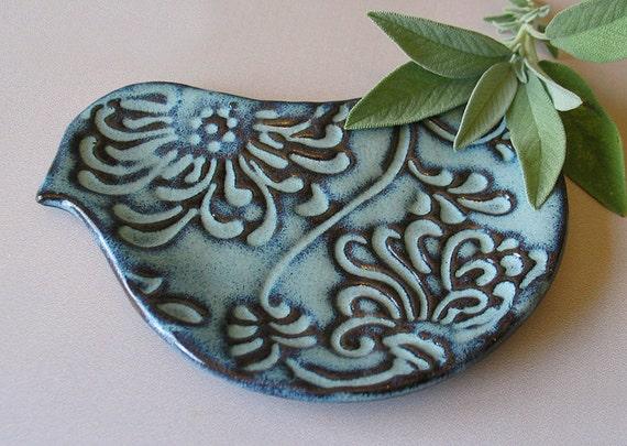 Pottery Bird Plate Bird Shaped Spoon Rest Ceramic Blue