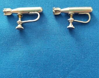 WW2 Torpedo Nickel Screwback Earrings
