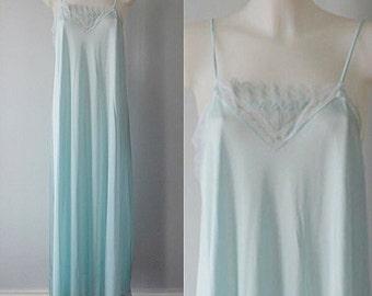 Vintage 1970s Kayser Mint Green Nightgown, 1970s Nightgown, Vintage Nightgown, Romantic, Kayser, Mint Green Nightgown, Vintage