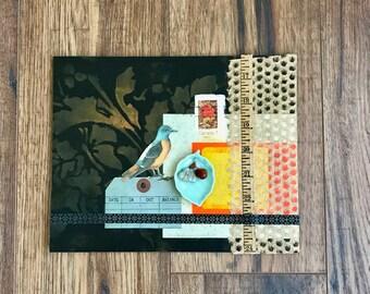 Put A Bird On It Collage Art, Aqua Leaf Art, Original Collage, Assemblage Art, Wall Art, Home Decor