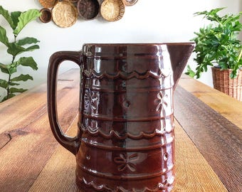 Large Vintage Marcrest Daisy and Dot Brown Stoneware Pitcher