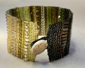 Yellow-Green Ombre Hand-Woven Beaded Bracelet