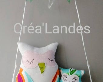 Owls mobile baby kid Driftwood home decor birthday gift