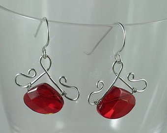 Renaissance Earrings - Ruby Crystal Wire Wrapped Shepherd's Hook