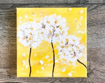 """Painting: """"Mini Dandelions in Morning Light"""" (6 x 6 Inches)"""