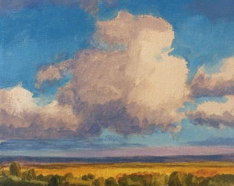 Summer Road - Original Landscape Painting on canvas 8x8 Clouds Blue Sky