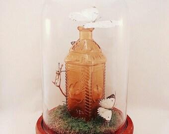 Large Centerpiece | Flutter by Katie | Butterfly Display | Cloche Glass Domed Art | Vintage Glass | White Butterflies | Sculpture