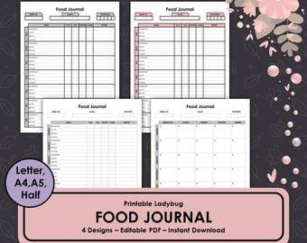 Food Journal, Food Diary, Weekly Food Journal, Food Planner, Fitness Journal, Health Journal, Printable Food Journal, Printable Food Diary
