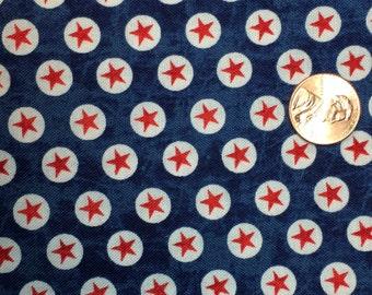 Patriotic Red Stars Fabric