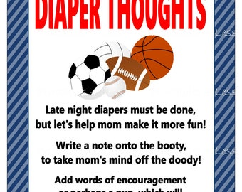 Sports Diaper Thoughts, Sports Baby Shower Diaper Game, Diaper Message, Late Night Diaper, Words For Wee Hours - Printables 4 Less 0079