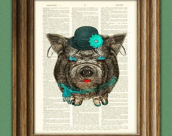 Big Fat POT-BELLIED Debbie in Teal PIG over an upcycled vintage dictionary page book art print