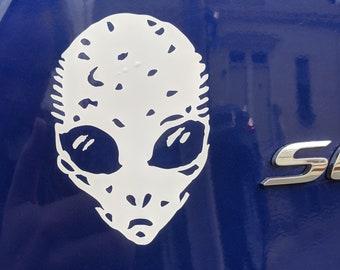 Alien Head White Transfer Sticker - for fans of UFOs, X Files, and Weird Art