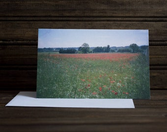 NOTE CARD - field of poppies - Spain