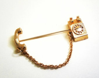 Adorable 1960s Vintage Novelty Avon Calling Rotary Telephone with Chain Gold Tone Stick Pin Brooch Pin