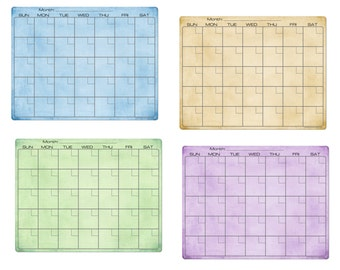 Amber Green Blue Purple Paint Dry Erase Monthly Calendar Fridge Magnet #3517