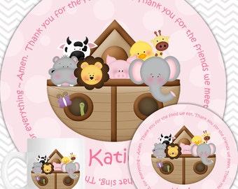 Noahs Ark Pink Plate, Bowl Mug  Set - Personalized Noahs Ark Plate Set - Customized Plate, Bowl, Mug - Melamine Plate, Bowl & Set for Kids