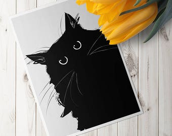 Gothic Black Cat Lover Gift Wall Art A7 Blank 5x7 Greeting Card Animal Kitty Feline Chat Noir Cute Halloween Preppy Kitten Eyes Home Decor