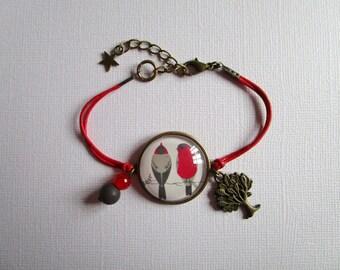 """Birds on branches"" bracelet, bronze cabochon, costume jewelry"