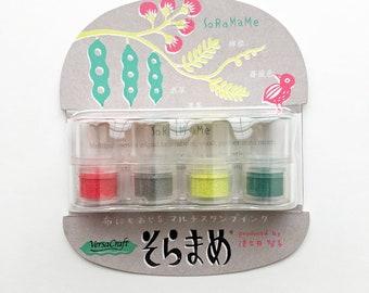 versacraft ink pads | tsukineko rubber stamp ink pad | multipurpose pigment ink for paper fabric | pre-inked daubers | set of 4 | mizufuusen