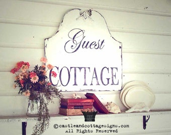 Vintage sign chippy GUEST COTTAGE as seen in Romantic Country Magazine