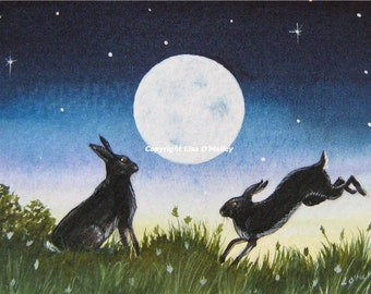 ACEO Print - Moon Love- Hares
