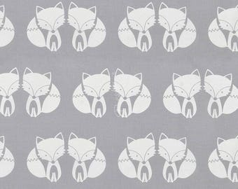 Grey Foxes in love Material, cut couple fox Fabric Cotton Fabric Sewing Supply, Quilting Supply Craft Supply