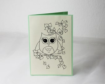 Hand drawn Greeting card/card/owl/Love/message