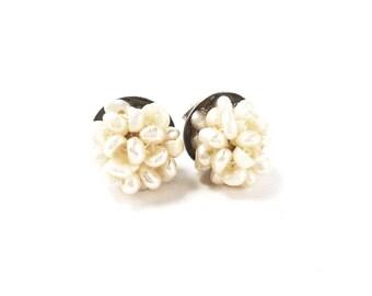 Cluster pearl earrings,12mm ivory cluster rice pearl,Girls jewelry,Stud  earrings,Mariana style,teen jewelry,bridal,wedding prom jewelry