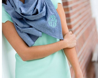 Scarves, Monogram Scarf, Chambray Scarf, Monogrammed Scarf, Bridesmaid gift, Monogrammed gifts, Christmas gifts