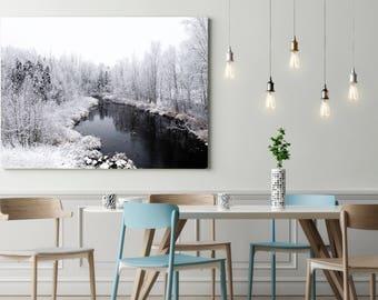 Winter Landscape - Explore - Home Decor - Holidays - Monochromatic Wall Art - Snowy - Water - Winter - Scenery - Wilderness
