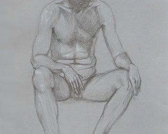 original charcoal on paper drawing of seated man