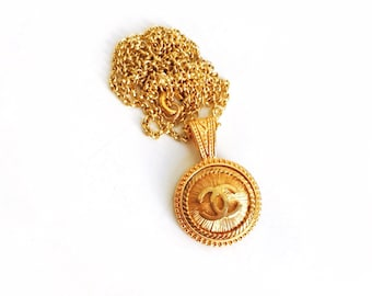 Large Vintage Gold Rope Button Necklace