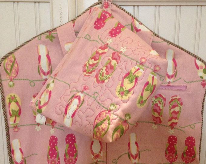 Garment bag travel set pink flip flops upholstery fabric braided trim pink long zipper light weight garment bag toiletry bag set carry all
