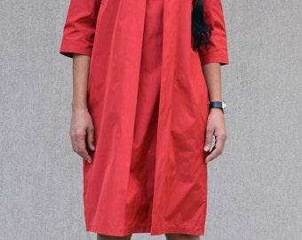 Fashion midi evening dress, elbow sleeve dress, loose short tunic, loose tunic dress, midi dress sleeves, loose tunic, red mid knee dress