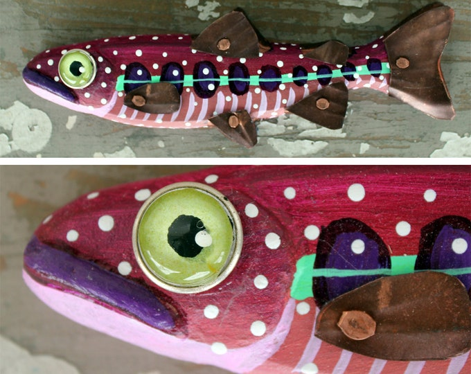 "Crystal, 8"" Trout Minnow, Fun Hand-Painted Wood Fish Wall Art, Copper Fins, Colorful Folk Art, Made in Vermont, Fish Sculpture, Unique Gift"