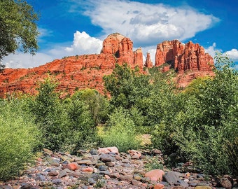 Sedona's Red Rock Crossing - Sedona Arizona Landscape Art - Red Rock Art - Cathedral Rock - Wall Art - Home Decor