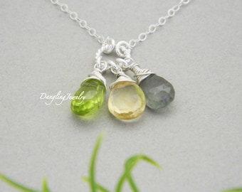 Personalized Mother Birthstone Necklace, Three Gemstone Necklace, Best Friends, Children Birthstone Gift, Three Sister Jewelry, Grandmother