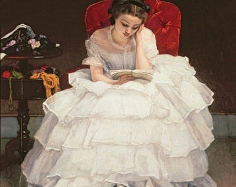 Fine Art Print of Beautiful Girl in Ruffled White Dress Reading a Book