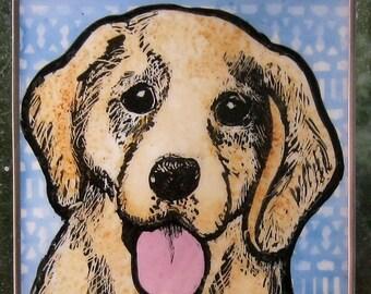 Golden Retriever Stained Glass Dog Suncatcher JRN256