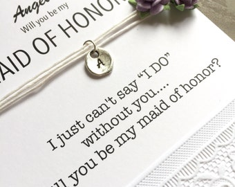 Will you be my maid of honor, Maid of honor proposal, I can't say I DO without you, Be my maid of honor, Ask bridesmaid, Initial charm, B32