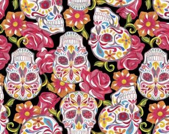 Festive Sugar Skulls on Black from David Textiles - Full or Half Yard Sugar Skulls and Flowers on Black