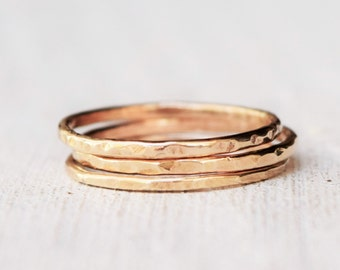 Thin Solid Yellow Gold Ring - One Band - 14 Karat Gold - Delicate Jewelry - Petite Jewelry - Stacking Ring - Sizes 4 to 9