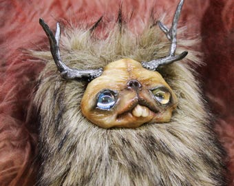 Free shipping Creepy cute fur doll forest spirit doll with horns