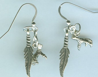 Sterling Silver EAGLE FEATHER & CLAW  Earrings - 3D - Southwest